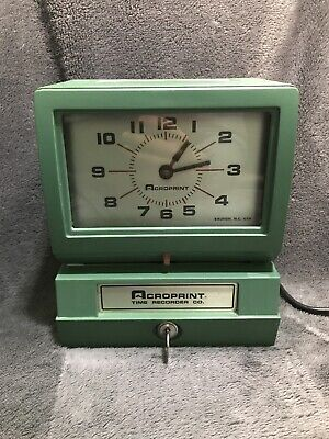 Acroprint Heavy Duty Manual Time Recorder Time Clock W Key. Tested