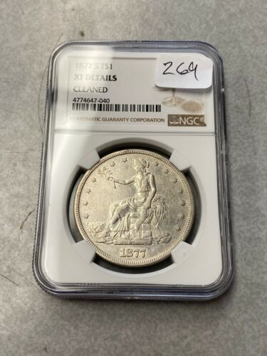 1877-S Silver Trade Dollar NGC XF Details - Cleaned #040