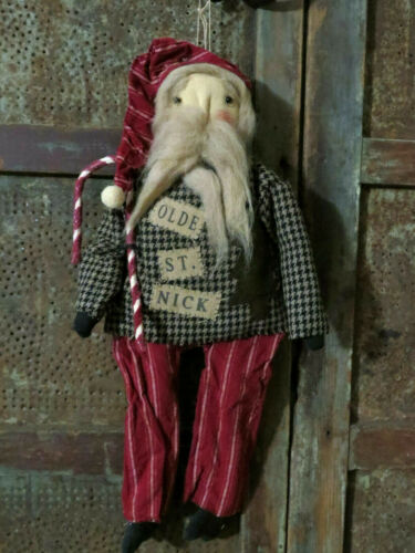 Grubby Primitive Old World Santa Claus Doll Tea Stained St Nick w Candy Cane