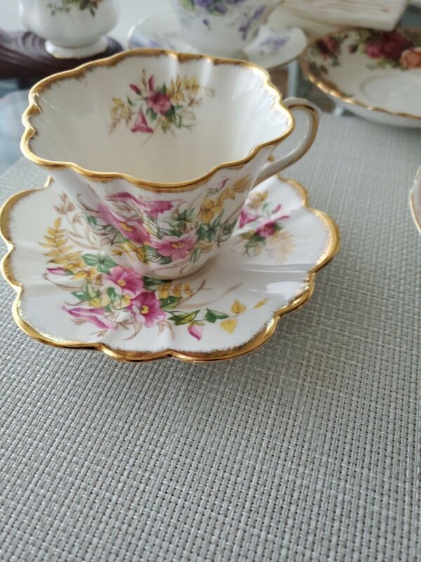 """ROSINA-QUEENS 5031A  PINK FLORAL 2 1/8"""" FLAT CUP SAUCER 1952-70"""