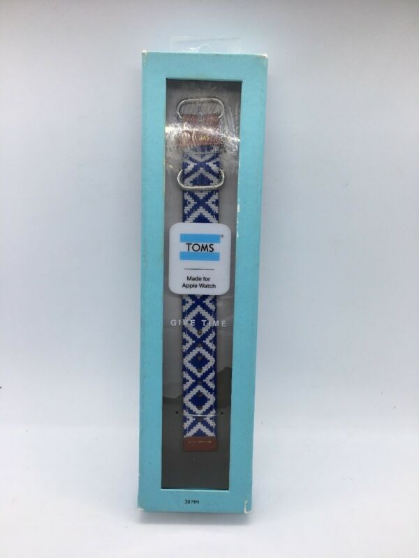 TOMS For Apple Watch Band 38mm Blue Woven New Read