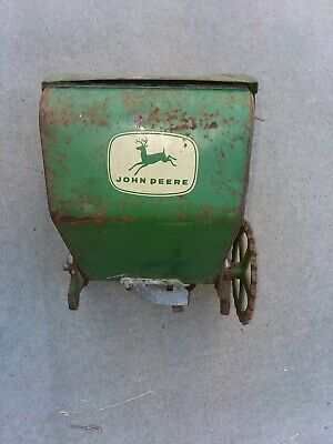 Vintage John Deere Tractor Corn Seeder Planter Hopper Metal Box Farm Art Flowers
