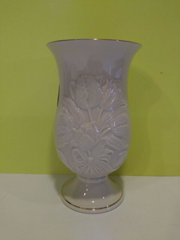 Lenox Mothers Day 2002 Ltd Edition Tulip Splendor Vase 24K Gold Trim Orig Box