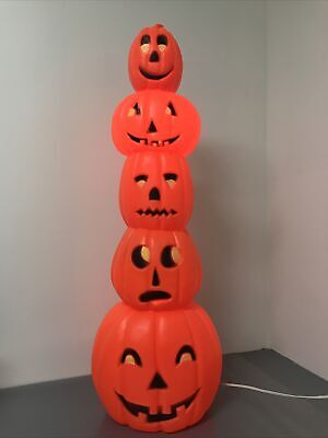 Union Products Don Featherstone Blow Mold Stacking Pumpkins Jack-o-Lanterns MINT