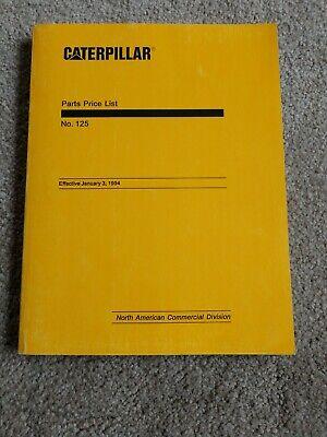 1994 Vintage Caterpillar No 125 Part Bebd1200 Parts Price List Manual Book