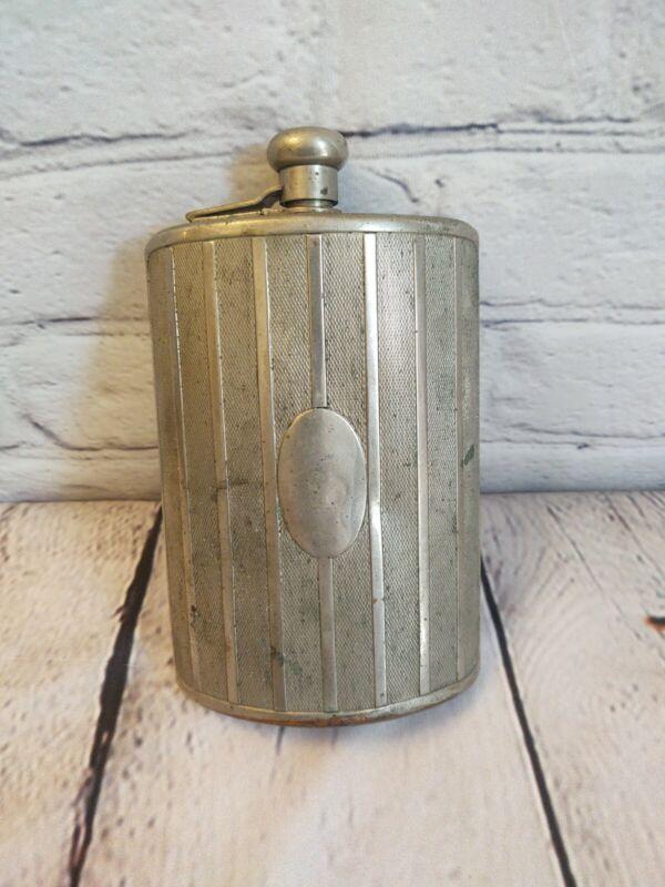 Vintage Silver Metal Ribbed No Monogram Germany Flask