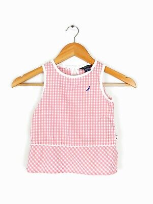 Girl's Nautica Pink Gingham Dress Sz 4T Kids White Checkers Boat Preppy Fun Cute