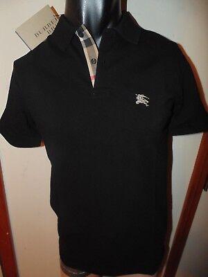 Burberry Brit Mens Black  Short Sleeve Nova Check Placket Polo Shirt S M L Xl