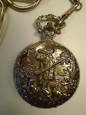 Vintage Cariole Pocket Watch-Hunter W/ Dogs Gold Tone Finish W/ Chain- Works