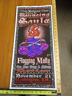 2001 Rock Roll Concert Poster Bouncing Souls Flogging Molly Wood SN LE# 200