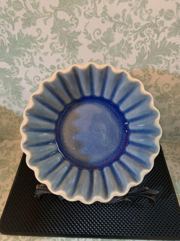 Anthropologie Scalloped Baking Dish Blue