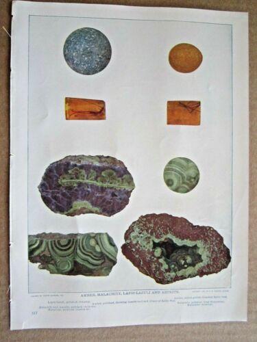1902 ANTIQUE AMBER MALACHITE LAPIS-LAZULI AZURITE STONES ROCKS LITHOGRAPH PRINT
