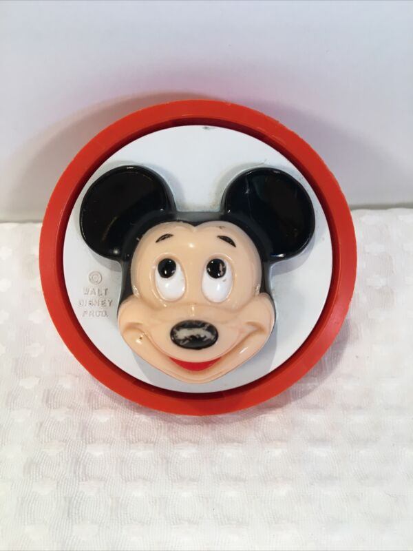 Vintage Mickey Mouse Disney Round Night Light Electric Socket Plug In Red