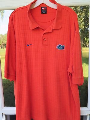 Nike Team Cotton Rayon Florida Gators Orange Waffle Checks Coaches Polo Shirt XL