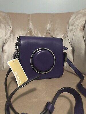 Kamera Tasche Geldbörse (Michael Kors Scout Geformt Kamera Leder Crossbody Geldbörse Tasche Iris Violett)