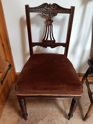 Vintage Antique Lyre  Chair lovely carving, upholstered seat, great condition