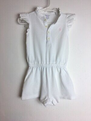 Ralph Lauren Baby Girl's One Piece Romper Size 9 Months White Color