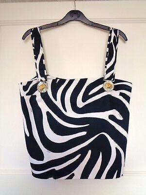 "Gorgeous Versace Versus Zebra Black & White Top Size 42  35"" Bust"