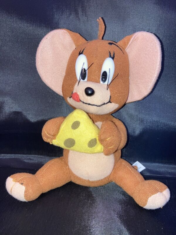 """Vintage Hanna Barbera 8"""" Plush Tom & Jerry Cartoon Jerry Mouse with Cheese"""