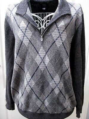 Joseph Abboud Joe Grey Zip Neck Jumper Medium Argyle Designer Cotton Casual