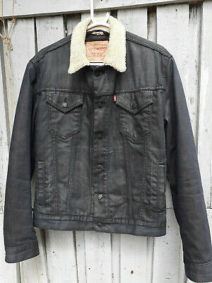 Levi Strauss Dark Blue Denim Fur Collar Red Tab Jacket Mens Size Medium  74551
