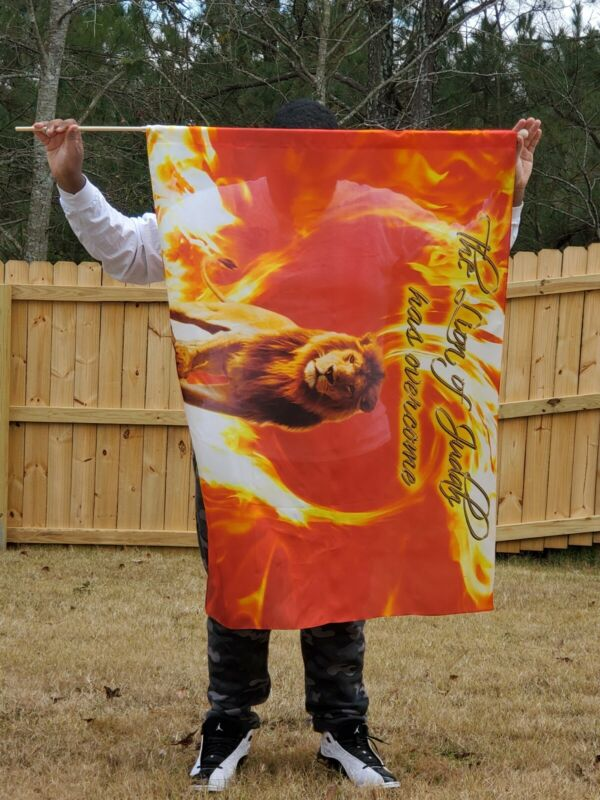 Lion of Judah Fire Silk Flag for praise and worship dance 36 x 50  free shipping