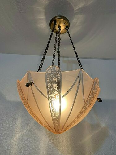 Vintage Pink Frost Cut To Clear Glass Chandelier,Fixture