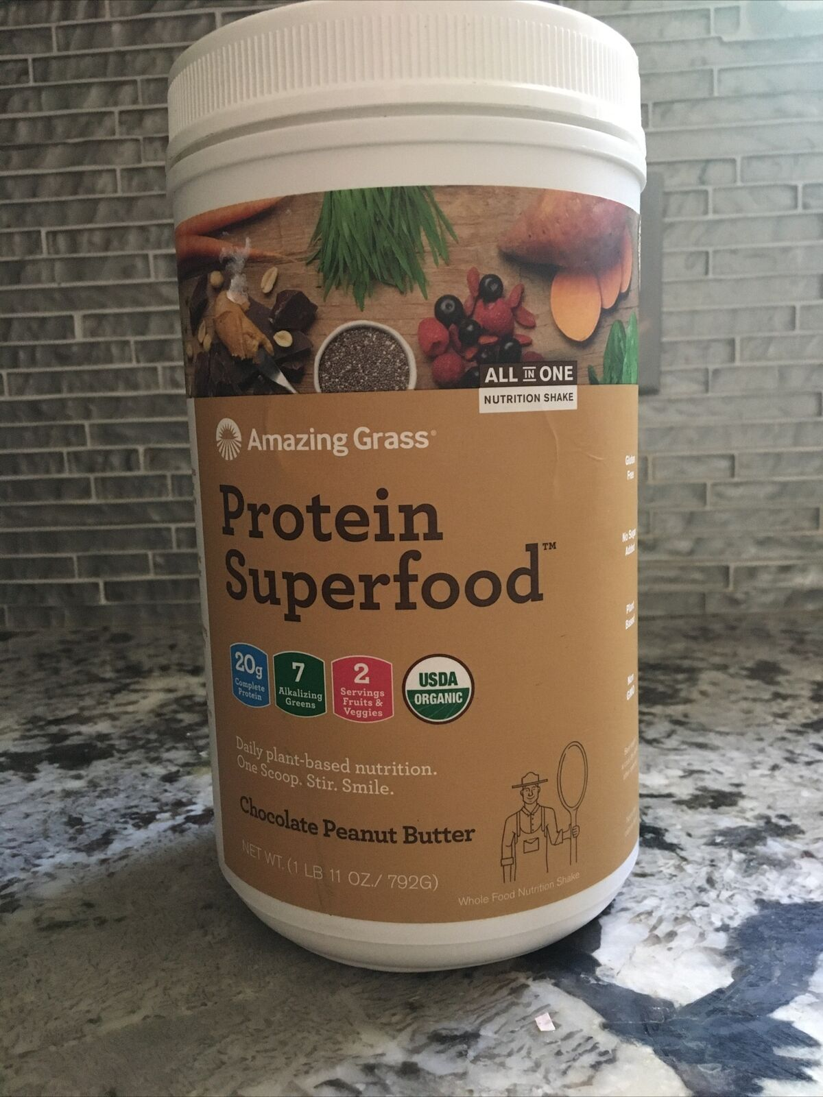 Amazing Grass Protein Superfood Chocolate Peanut Butter 1 Lb 11oz Exp. 08/2021