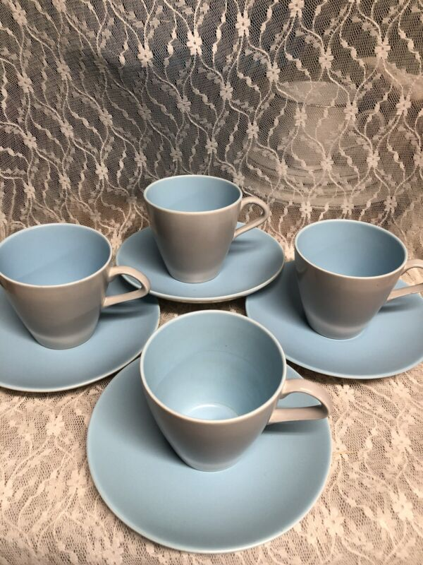 Vintage Poole Twin Tone England Baby  Blue & Dove Grey 4 sets Cup & Saucer