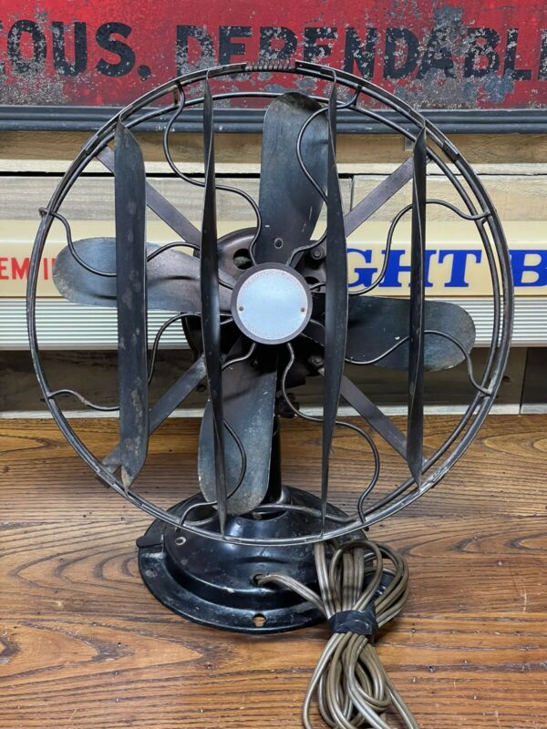 """Antique Victor Electric Fan 12"""" Stationary w/Cage Spreader -Works-"""