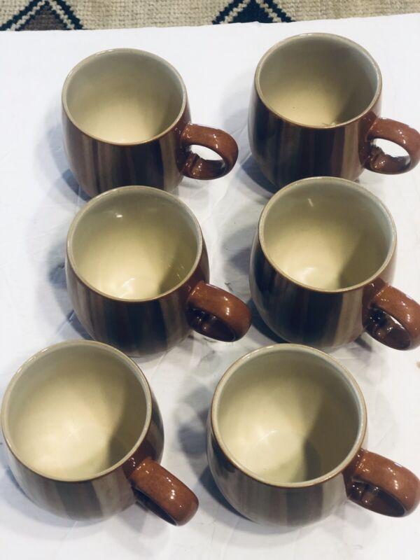 denby mugs. Six Denby Fire Strip  Mugs