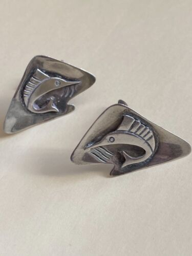 vintage sterling  cufflinks — leaping marlin — from Mexico midcentury