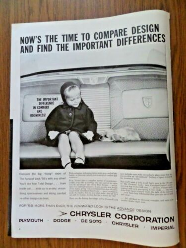 1958 Chrysler Plymouth Dodge De Soto Imperial Ad  Comfort & Roominess