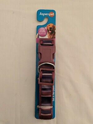 New Aspen Pet Adjustable Dog Collar Purple Gray Striped Large 16