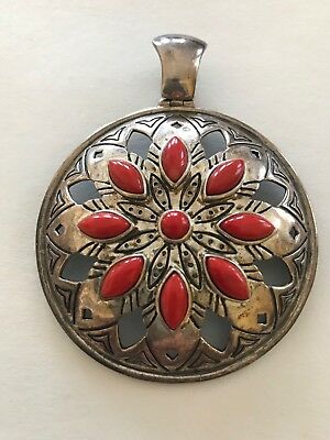 HUGE ROUND JEAN LIN RED CORAL / CARNELIAN STERLING SILVER PENDANT ENHANCER