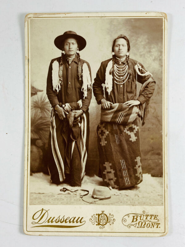 Young Piegan Blackfoot Indians Native American Cabinet Card by Dusseau Butte MT