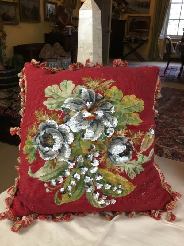 Antique Victorian Wool Beaded Needlepoint Tapestry Red Country House Cushion
