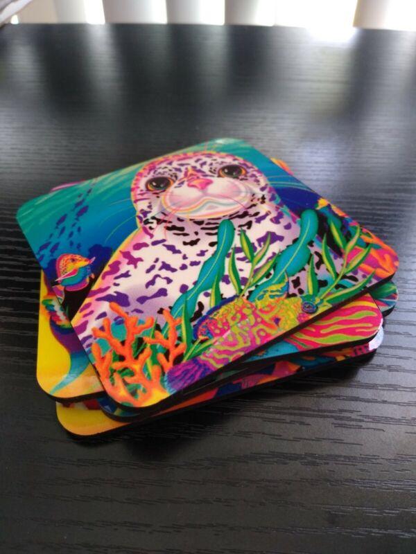 New Cork Coasters *4 Pack* Lisa Frank Kissing Fish, Seal, Dolphins, Shark