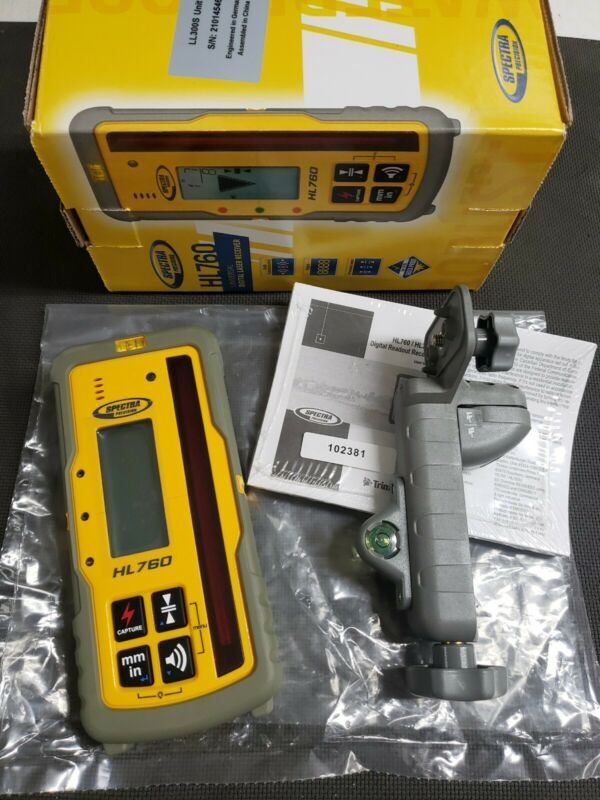 Spectra Precision HL760 Rotary Laser Receiver Detector Dual Display W Rod clamp