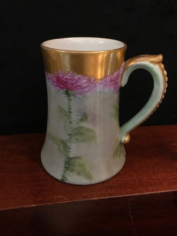 Antique J P L Jean POUYAT Limoges France Hand painted Beer Mug Or Flower Vase