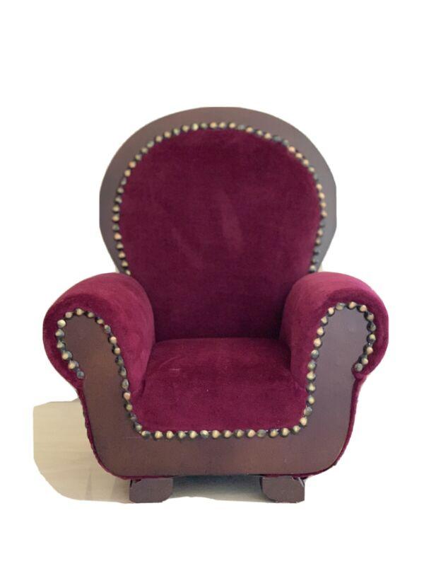 Doll Sized Upholstered Doll Arm Chair in wood and burgundy velvet