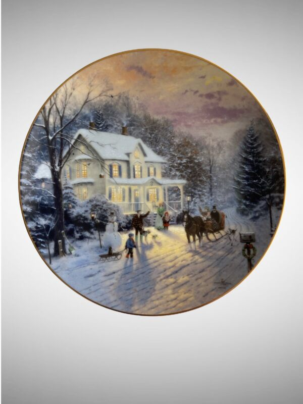 """Edwin M. Knowles """"Sleighride Home"""" Collector Plate Christmas VTG 1991"""