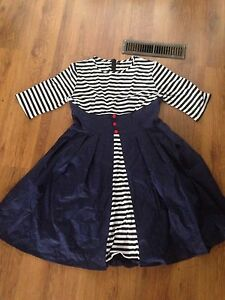 High Waste striped Embellished Dress