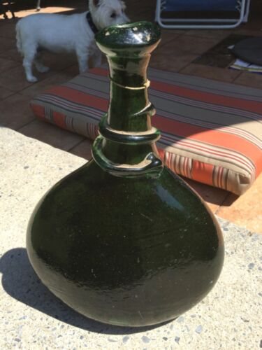 Antique Green Glass vase from Caravan Middle East origin.  Or Chinese     ?
