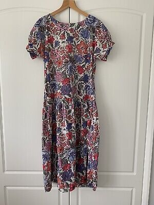 Vintage 1980s Laura Ashley floral cotton dropped waist dress size 12 UK