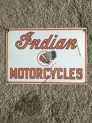 Vintage Indian Motorcycles Enamel Sign Metal Porcelain Style age 20ish
