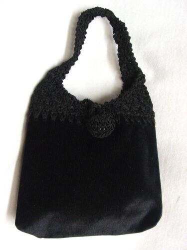 Velvet BROWN Vintage Victorian style purse handbag crochet clasp