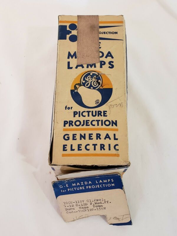 Vintage GE Mazda Lamps Picture Projection 750W-115V T-12 Code-750T12P-115V