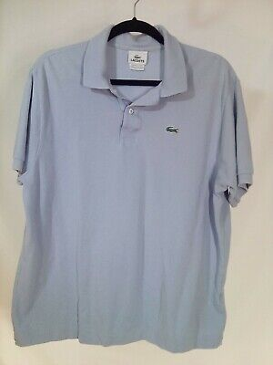 Lacoste Mens Polo Shirt Logo Short Sleeve Size 7 XL Large Light Blue 100% Cotton