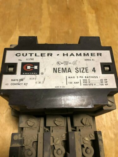 Cutler Hammer NEMA Size 4 Starter A11FN0 135 AMP